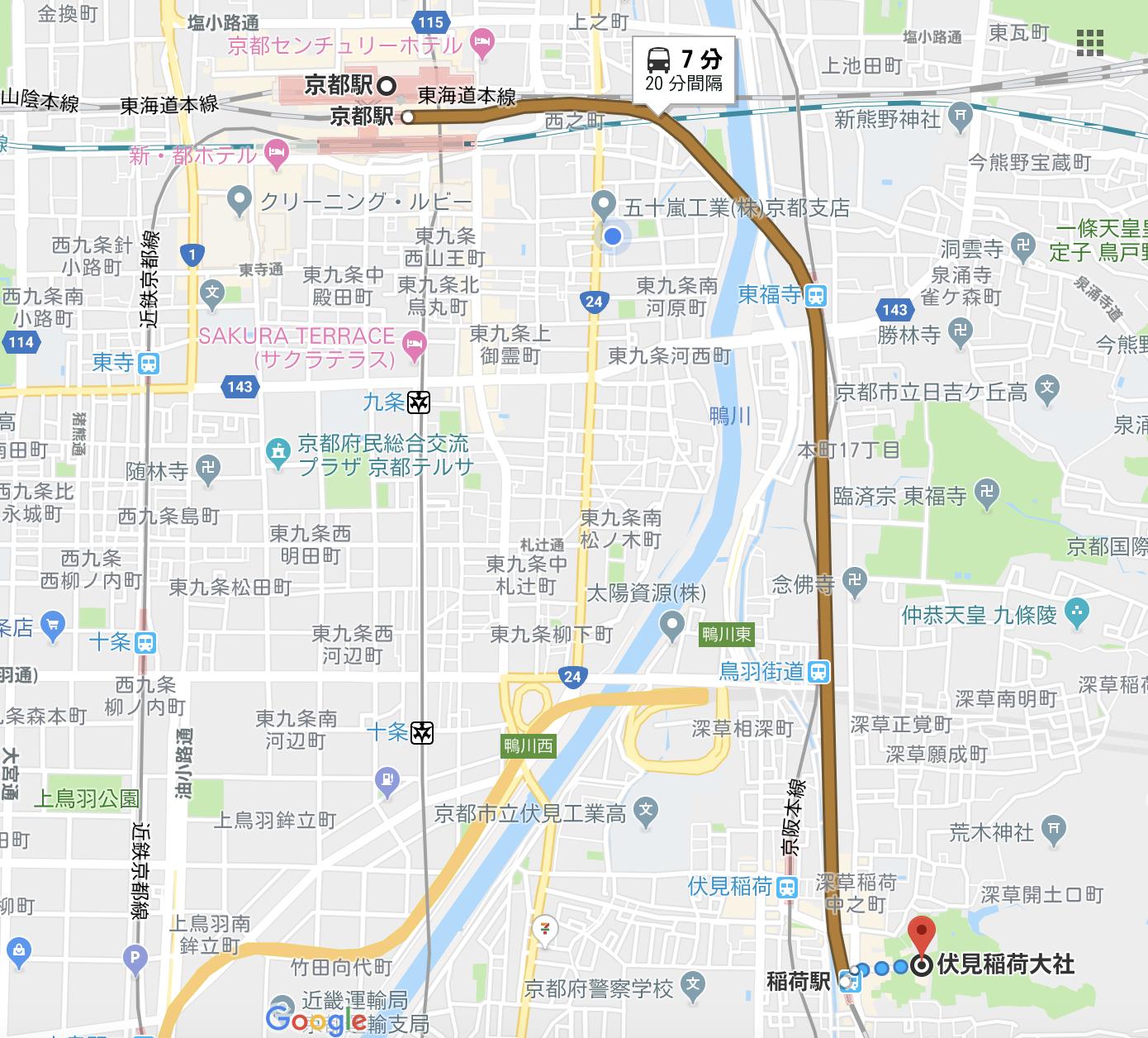 伏見稲荷大社へのアクセス方法
